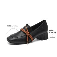 单鞋女19春款粗跟【中跟玛丽珍】奶奶鞋女平底潮鞋复古网红百搭