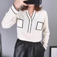 新半身裙2018秋上新款V领女针织羊绒衫宽松显瘦百搭打底衫韩版长袖上 均码