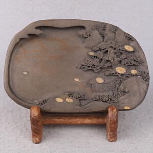 中国非物质文化遗产传承人群 钟景锐作品《众星拱照》砚  梅花坑