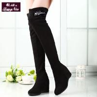 长靴女过膝显瘦秋冬季女靴过膝长靴高跟高筒靴弹力靴长筒女靴 黑色 薄款