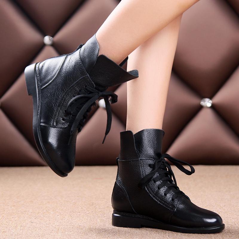 春秋女靴复古单靴子平跟马丁靴软皮软底休闲短靴女单鞋平底鞋 黑色 单内里
