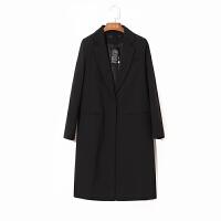 2018春秋装新款休闲小西装女中长款宽松显瘦气质女士西服外套 潮 黑色