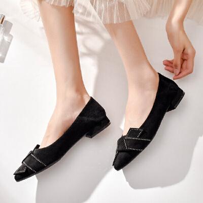 19珂卡芙新款【纯色蝴蝶结】网红个性尖头平底鞋舒适百搭女单鞋