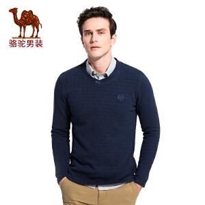 骆驼男装 秋季新款微弹绣标V领男士青年商务休闲长袖T恤