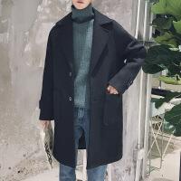男士风衣新款潮流帅气呢子外套秋冬季翻领学生中长款毛呢大衣DE29