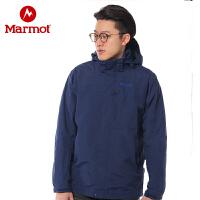 Marmot/土拨鼠2021D春季新款户外运动男士防泼水透气连帽保暖冲锋衣