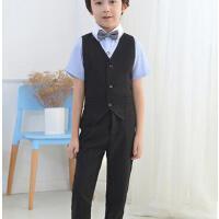 儿童礼服优雅时尚男童套装马甲套装钢琴演出服合唱中大童花童礼服西服套装户外修身