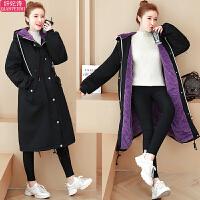 孕妇冬装时尚棉袄加绒保暖棉衣秋冬季孕妇中长款宽松外套