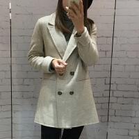 职业小西装女外套双排扣短款双面呢羊毛羊绒大衣西装外套女