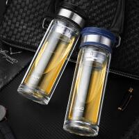 男女士车载透明玻璃水杯大容量双层便携泡茶杯