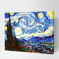 菲绣绣艺 diy数字油画 客厅花卉风景人物手绘抽象装饰画 世界名画作品 梵高星空