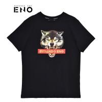 BURANDOENO潮牌狼头印花图案男式短袖T恤E19P31MSS054