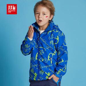 jjlkids季季乐男童外套儿童冲锋衣春秋款带帽时尚潮流百搭长袖上衣童装BQW61183