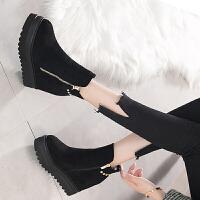 厚底内增高短靴女冬2019坡跟靴子女内增高马丁靴女加绒短筒潮 黑色