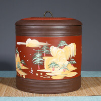 茶�~罐紫砂普洱茶罐陶瓷家用存茶罐大�a茶罐大�密封醒茶罐