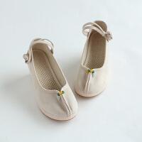 东方九如棉麻鞋子复古布鞋厚底女鞋坡跟鞋高跟鞋
