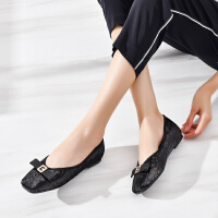 2019珂卡芙新款【亮片蝴蝶结】网红时尚平底单鞋显白显瘦女鞋