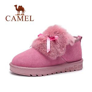 camel骆驼女鞋  韩版雪地靴短靴保暖兔毛拼磨砂 面包靴