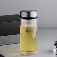 单层加厚玻璃杯便携杯子男女大容量泡茶简约创意水杯390ml