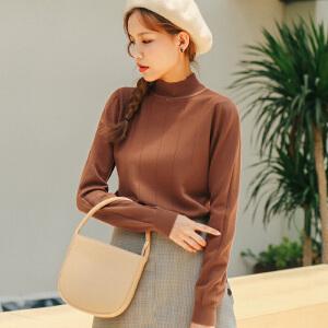 2017秋装新款女装韩版潮套头毛衣女修身长袖打底衫上衣针织衫