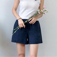 短裤 女士棉麻运动A字裤2019夏季新款女式大码休闲热裤裤子女装沙滩裤