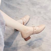女鞋单鞋2019秋款百搭中跟粗跟复古秋鞋春款软皮玛丽珍奶奶鞋