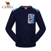 camel骆驼童装秋冬男童微弹卫衣儿童套头加厚迷彩口袋T恤