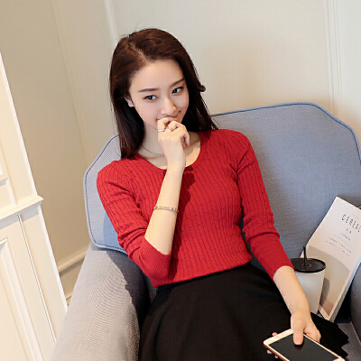 秋季新款韩版2018修身女装圆领针织毛衣时尚打底百搭显瘦纯色上衣