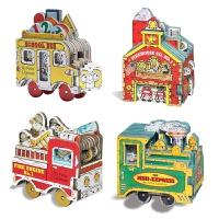 迷你车迷你屋玩具书系列4册 纸板书英文原版Mini Wheels Mini Fire Engine/Mini Expre
