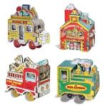 迷你车迷你屋玩具书系列4册 纸板书英文原版Mini Wheels Mini Fire Engine/Mini Expr