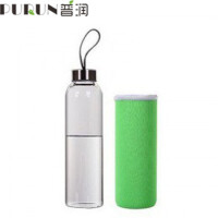 普润 550ML玻璃杯 耐热玻璃水瓶 密封水杯 带盖创意车载透明茶杯 绿色 时尚便捷 耐热防摔 送杯套