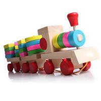 宝宝认识颜色 拖拉木制玩具 积木配对 多功能小火车 1-5岁