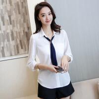 衬衫 女士韩版修身雪纺衫纯色翻领七分袖女式衬衣百搭学生时尚上衣