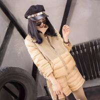 2017冬季新品韩版修身时尚小棉袄女士短款棉衣+两件套潮