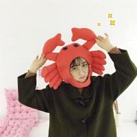 日系卡通甜美卖萌螃蟹头套chic拍照道具软妹搞怪可爱少女帽子头套