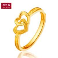周大福珠宝心相印足金黄金戒指女款计价F152998精品