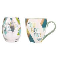 爱屋格林创意卡通马克杯陶瓷水杯大容量玻璃杯组合两件套装*