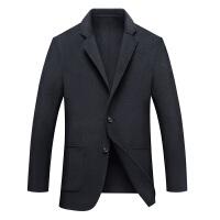 双面呢外套男纯色西装领青年单排扣呢大衣男 黑色 黑色