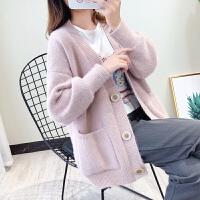 韩版孕妇装秋冬装上衣宽松针织开衫外套孕妇中长款加厚毛衣