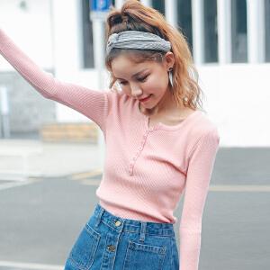 2017秋装新品韩版修身百搭排扣半开领毛织长袖针织衫打底衫女装