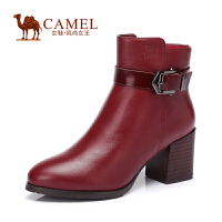 Camel/骆驼女鞋 时尚 水染牛皮圆头粗高跟扣带侧拉链女短靴