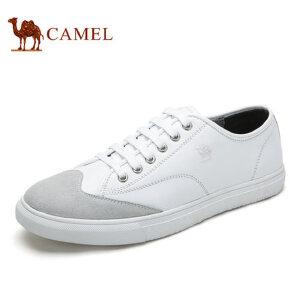 【领券下单立减111元】camel骆驼男鞋 新品 男士拼接纳帕牛皮个性潮流滑板鞋