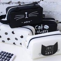 韩国创意可爱小清新猫咪硅胶大笔袋简约大容量文具盒铅笔袋男女 黑色白色 款式*