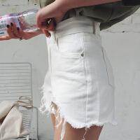 2018新款韩版学生高腰破洞毛边白色牛仔女宽松阔腿热裤子 白色