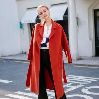 新女大衣2018秋冬新款双面呢大衣女纯羊毛宽松中长款气质风衣西柚红