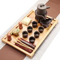 陶瓷茶壶紫砂茶杯简约竹制茶盘办公茶台家用功夫茶具套装整套