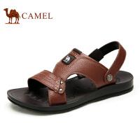 camel骆驼男鞋 夏季新款 休闲牛皮凉鞋男沙滩鞋舒适凉拖鞋