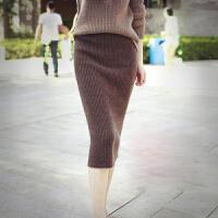 秋冬新款羊绒针织一步裙修身显�C包臀裙中长款高松紧腰羊毛半身裙