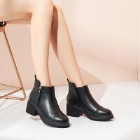 【加绒抗寒特色侧拉链】新款秋冬短筒保暖女靴时尚粗跟女
