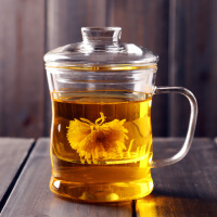 加厚耐热玻璃杯创意三件式泡茶杯过滤带盖套装茶具水杯花茶